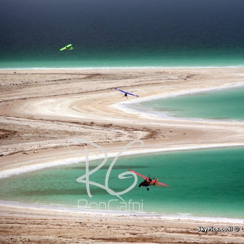 Aerial sightseeing along the retreating shores of the Dead Sea