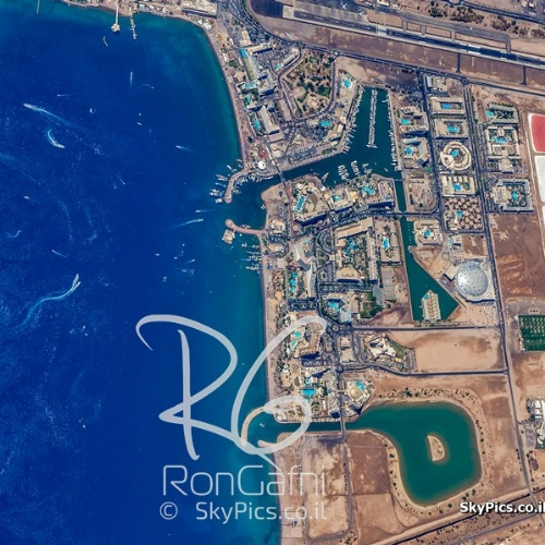 The City of Eilat, and the read sea from 12,000 feet